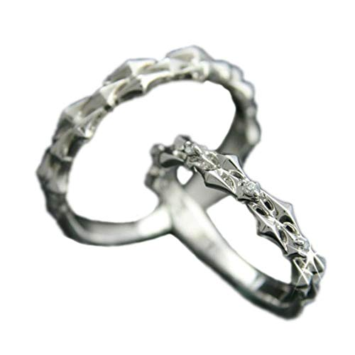 [ココカル]cococaru ペアリング 2本セット K18 ホワイトゴールド 結婚指輪 ダイヤモンド 日本製(レディースサイズ19号 メンズサイズ13号)