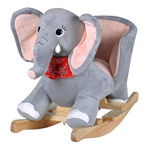 SOULONG Balancin Bebe,Mecedora para Niños,Elefante balancín,10 - 36 Meses,60 x 32 x 54 cm, Gris