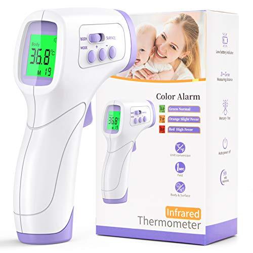 KKmier Termometro febbre infrarossi professionale, termoscanner per febbre frontale digitale per misurazione temperatura corporea con 99 letture memorizzate per adulti bambini neonati