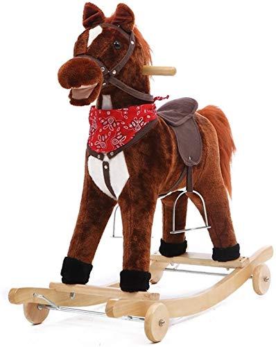 GCX Bambino in Legno a Dondolo Cavallo 2 in 1 Peluche con Ruote per 12-60 Mesi Ragazzi e Ragazze Giocattoli per Bambini Bambino Bambino Musica dei Cartoni Animati (Color : Brown)