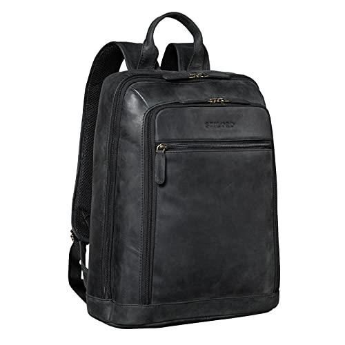 STILORD 'Watson' Zaino Laptop 15,6 Pollici Pelle Backpack Business Uomo Vintage Zaini per MacBook DIN A4 Daypack per Ufficio Zainetto Grande in Vera Pelle, Colore:antracite