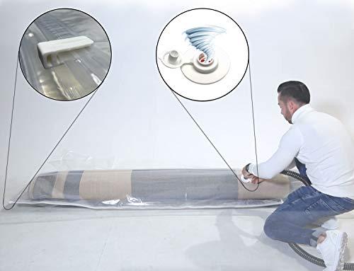 Sirena - Sacchetto sottovuoto per materasso e tappeto con Turbo Valvola universale a prova di perdite. Sacco di protezione sottovuoto per riporre oggetti voluminosi 130 x 250/350 cm (130 x 250 cm)