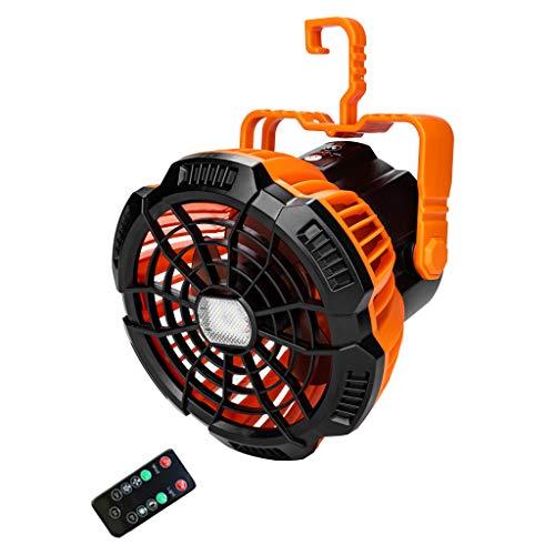 Itlovely Ventilador de camping recargable USB 5200 mAh con linterna LED Timing Control remoto 3 velocidades colgante ventilador de techo para dormitorio hogar oficina tienda al aire libre