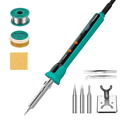 90W LED Digital Soldering Iron kit, RHAEGON Professional Solder Kit with On Off Switch, Adjustable 180℃~480℃ (℃ ℉) Precise Temperature, Ceramic Heater, PID Technology for Electronic Works & Repairs