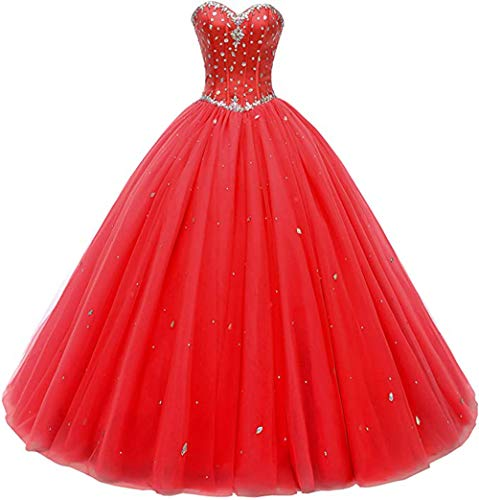 Likedpage Women's Sweetheart Ball Gown Tulle Quinceanera Dresses Prom Dress (US26W, Red)… (Apparel)