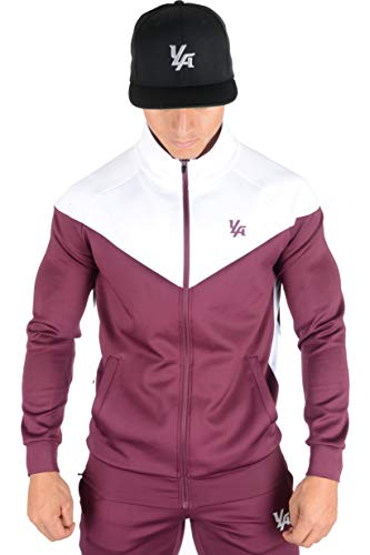 YoungLA Track Jacket for Men and Women | Sports Tracksuits | Soccer Basketball Warm ups Training | Softest Fabric | Burgundy XX-Large