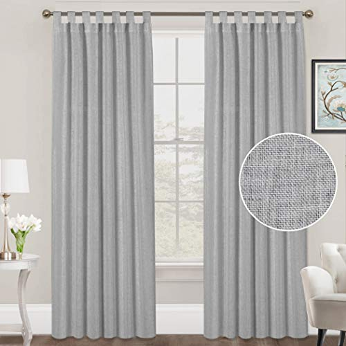 FantasDecor Linen Curtains Natural Linen Blended Curtains Tab Top Curtains Privacy Added Window Treatments Drapes for Living Room Light Filtering Curtains 2 Panels, 52 by 84 Inches, Dove Gray