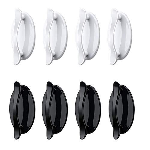 Zasiene Manija Autoadhesivo 8 Piezas Mango Autoadhesivo Auxiliar Tiradores Adhesivos Pomos Autoadhesivos para Puerta Cajones Armarios, 2 Colores (blanco y negro)