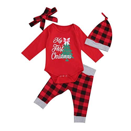 Geagodelia Strampler für Neugeborene, Weihnachten, Unisex, langärmelig, aus Baumwolle, Top, Plaid, lange Hose, Hut, Set mit Partykleidern 12-18 Monate
