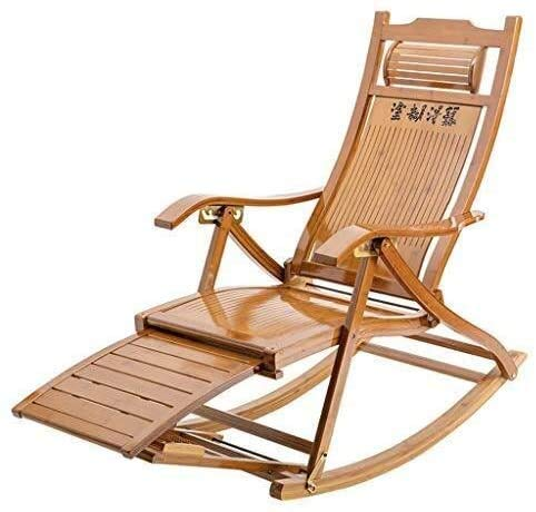 Sun Lounger Garden Chairs Foldable Deck Chair Patio Reclining Chairs Bamboo Lounge Chair Rocking Chair Beach Yard Pool Folding Reclining with Massageable Footrest sun lounger chair