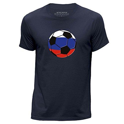 Stuff4 Hombres/XXX Grande (3XL)/Azul Marino/Cuello Redondo de la Camiseta/Rusia/Ruso Fútbol