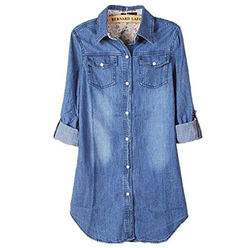 Blusa Señoras Mujer Sudadera Larga Manga Blusa Nuevas Mujeres Casual Moda Manga Larga Vintage Camisa Vaquera Azul Blusas Blusa Camisa Suelta Tops (Color : Blau, Size : L)
