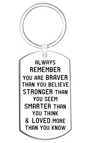 Jewelry Gift for Men Women- Always Remember You are Braver Than You Believe Inspirational Keychain