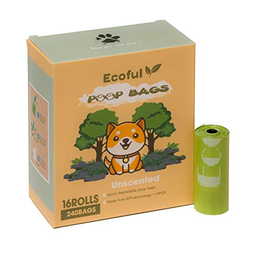 Ecoful Dog Poop Bags 16 Rolls - 15 per Roll Poop Bags for Dogs - Extra Thick Strong Bio.degradable Dog Poop Bags - Leak Proof Dog Waste Bags - Doggy Poop Bags 9 x 13 Inches, Must Have at Home & Travel