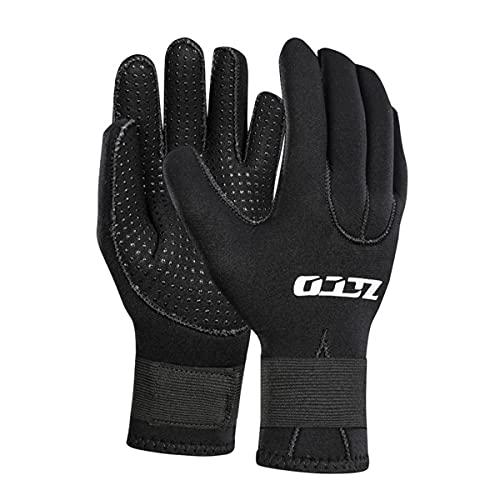 Gants de plongée à cinq doigts, gants de surf en néoprène de 3 mm avec sangle de taille réglable, gants de combinaison thermiques antidérapants flexibles, pour la plongée, le surf et le kayak,XL