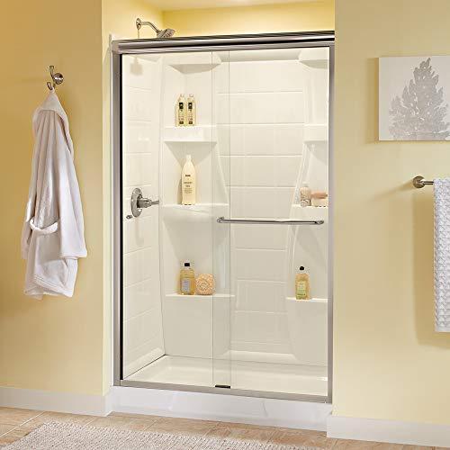 "Delta Shower Doors SD3956970 Classic Semi-Frameless Traditional Sliding Shower 48""x70"", Nickel Track"