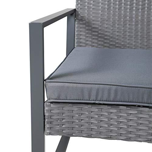 SVITA LOIS XL Poly Rattan Sitzgruppe Gartenmöbel Metall-Garnitur Bistro-Set Tisch Sessel grau - 6