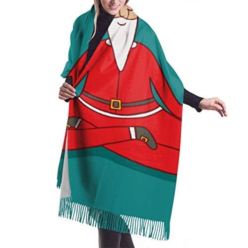 Lawenp Bufanda de mujer de 27 'x77' Papá Noel haciendo bufandas de yoga para niñas, bufanda de viaje para mujer, elegante manta grande y cálida