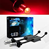 Syneticusa Error Free Canbus Ready Red LED Brake Parking Tail Stop Turn Signal Light Bulbs DRL Parking Lamp No Hyper Flash All in One With Built-In Resistors (7443)