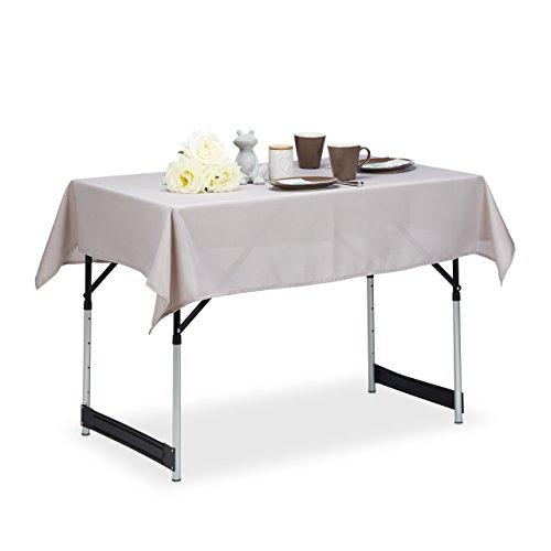 Relaxdays 10022620_792 Nappe Hydrofuge résistante Eau Linge de Table Jardin Polyester sans Plis 110x140 cm Rectangle, Taupe, 110 x 140 cm