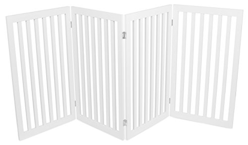 Internet's Best Traditional Pet Gate - 4 Panel - 36 Inch Tall Fence - Free Standing Folding Z Shape Indoor Doorway Hall Stairs Dog Puppy Gate - White - MDF