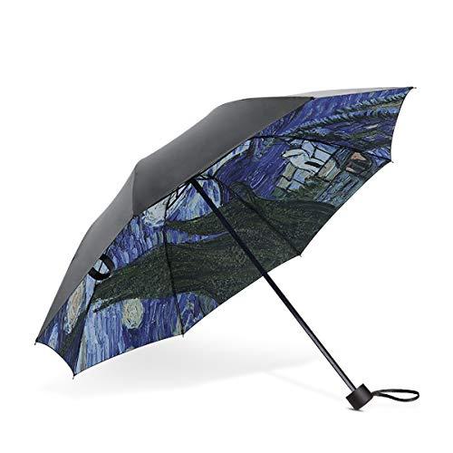 DORRISO Vogue Mujer Paraguas Plegable Mini Paraguas Impermeable Sencillo Cómodo Antiviento Paraguas Viaje Paraguas Cielo Estrellado B