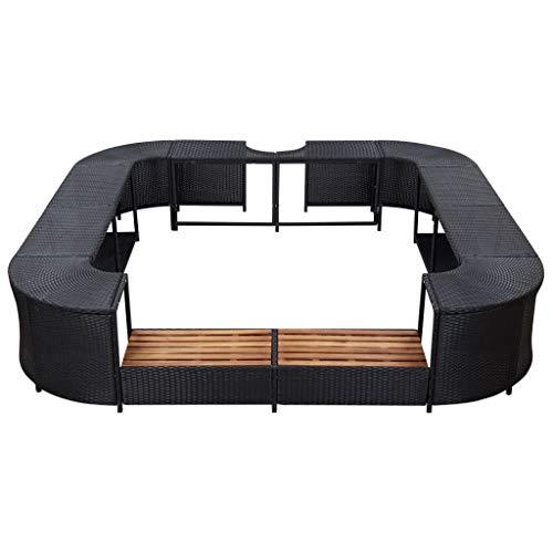 Tidyard Whirlpool Umrandung mit hölzernen Spa-Stufen Spa Poolumrandung für Schwimmbecken Quadratisch 268×268×55 cm Poly Rattan