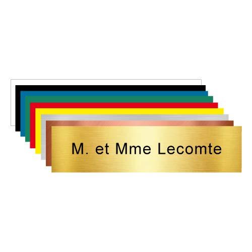Plaque Gravée Pour Boîte Aux Lettres Personnalisable Avec Votre Nom et Prénom - Dimensions 10 x 2,5 Cm - Aspect Or Brossé Avec Écriture Noir