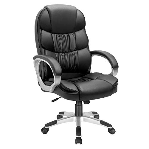 VICTONE Executive Office Chair High Back Office Chair Computer Chair Adjustable Ergonomic Desk Chair Swivel PU Leather Task Chair with Padded Armrests and Lumbar Support (Black)