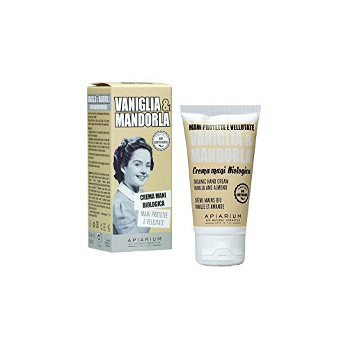 APIARIUM - Crema de manos de vainilla y almendras - con manteca de karité y aloe - rica, calmante y protectora - contra grietas en la piel - Orgánica - 50 ml