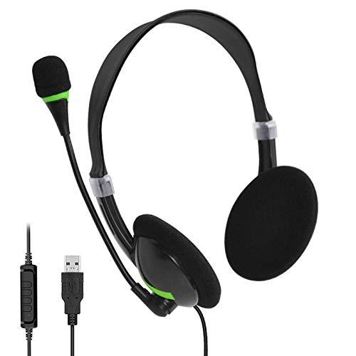 Winnerruby - Auriculares USB con cancelación de ruido de micrófono, auriculares para ordenador de sobremesa ligeros para conferencias de negocios, centros de llamadas, teléfono y portátil