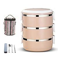 プレミアム弁当弁当と食器セット積み重ね可能な弁当ボックスステンレス製の弁当箱漏れ防止弁当箱お子様用と大人用の再利用可能な食事用準備容器 (ピンク, 15*20cm)