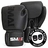 SMAI Elite85 Leather Boxing Gloves Plus 180' Black Boxing Wraps - Competition Boxing Mitts Made for Sparring, Kickboxing, Bag Work and Muay Thai Training - Winning Fight Gloves for Men & Women.