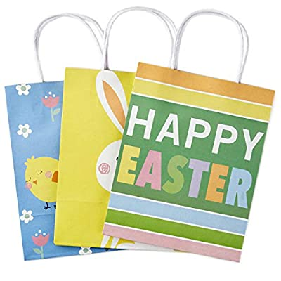 "Hallmark 9"" Medium Gift Bags Assortment (Bunny, Chicks, ""Happy Easter"" Stripes) Pack of 3 Gift Bags for Easter Baskets, Egg Hunts, Kids Gifts"