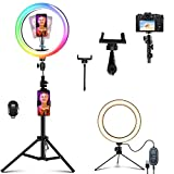 【Upgrade】 Selfie Ringlicht mit Stativ Aluminium, NaCot 10' RGB Ringleuchte 150 LEDs Licht 9 Farbe 13 Helligkeitsstufen 3000K-6500K Ring Light für Tiktok YouTube MakeupVideo Vlog