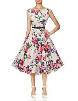 Vintage 1950 s Inspired Dresses Pink Floral A-Line Size L F-21
