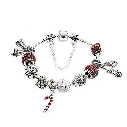 Thumby Unisex Europese en Amerikaanse Kerst Diamanten Armband Winter Armband Kerstmis Prachtige Diy Armband Vrouwelijke Creatieve Kleine Klok Slee Wilde Accessoires
