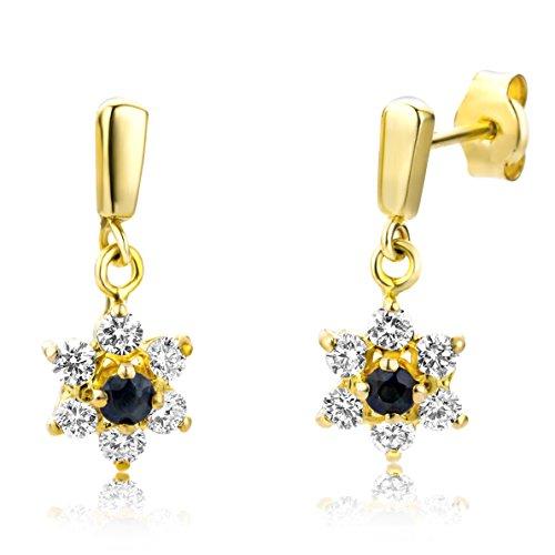 Miore Damen-Ohrringe 9 Karat (375) Gelbgold 2 Saphire umrahmt von 12 Brillanten ca. 0,42ct Weiß/vs MA912EY