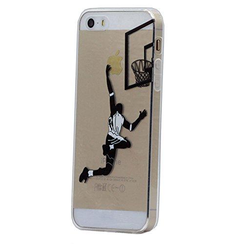 Keyihan Custodia per Apple iPhone 5 5S iPhone SE Cover Interessante Divertente Modello Leggero Sottile Morbido Trasparente Chiaro TPU Silicone Protettiva Caso (Giocare a Pallacanestro Layup)