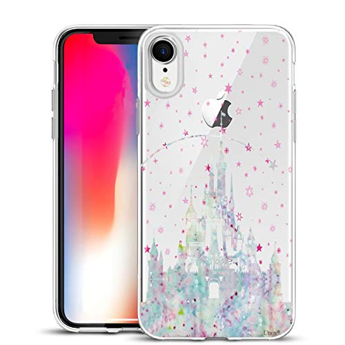 Unov Case Compatible with iPhone XR Case Clear with Design Slim Protective Soft TPU Bumper Embossed Pattern 6.1 Inch (Watercolor Castle)