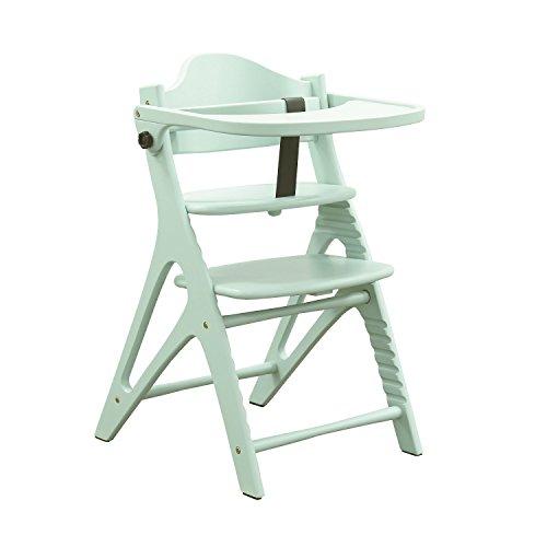 大和屋 の 安心なベビーチェア アッフルチェア 【 テーブル&ガード付き ハーブグリーン色) 天然木