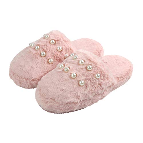 Komyufa Pink Furry Fashion Home Slippers for Women Girls with Luxury Pearls Decor Non Slip Cozy House Slipper Soft Sole Shoes Birthday Valentines Gifts Spa Indoor Outdoor