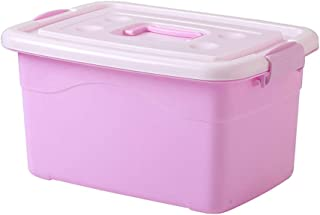 Thicken Storage Box Plastic Finishing Box with Cover Toy Basket Extra Large Clothes Quilt Storage Box (Size: 38.5 * 27 * 20cm) (Color : Pink, Size : 38.5 * 27 * 20cm)