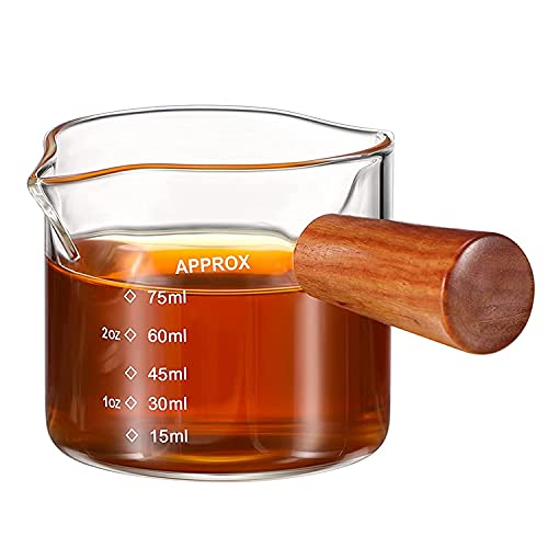 Espresso Measuring Glass, 75ML Double Spout Mini Measuring Cup Espresso Accessories with Wooden Handle, As a Dispenser for Coffee Milk or Sauce