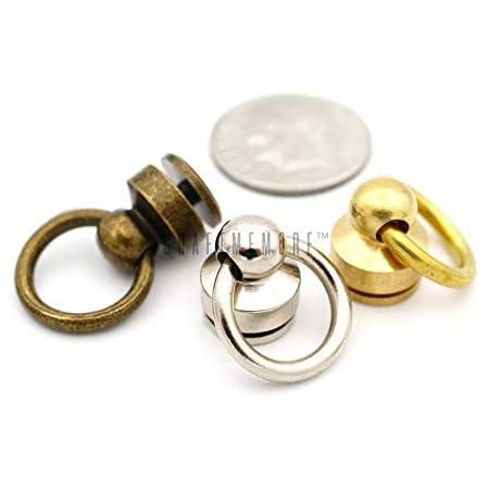 Brass Post O-D-Ring Rivet Back Screw Stud Spot Connector Joint Wallet Chain Belt