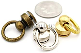 CRAFTMEmore Wallet Chain Connector Solid Brass Ball Post Screwback O-Ring Concho Leather Craft Wallet Accessories Pack of 2 (Natural Brass, Inside O-Ring 1/4