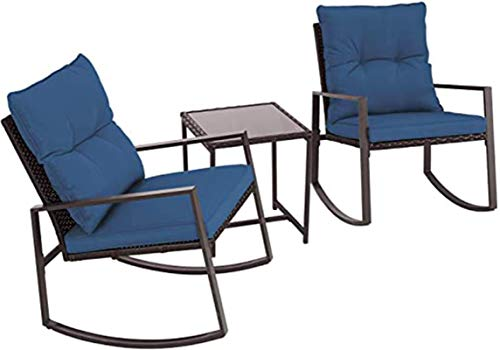 Oakmont Outdoor 3-Piece Patio Furniture Rocking Chair Bistro Set, Brown Wicker Conversation Set with Tempered Glass Coffee Table (Dark Blue)