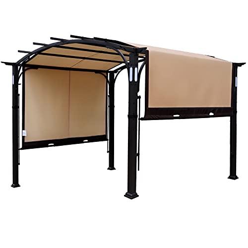 Warmally 10'x8' Pergola Patio Gazebo Kits Canopy Garden Outdoor Ventilation and Airflow Polyester Waterproof Heavy Duty (White, 10'x8')