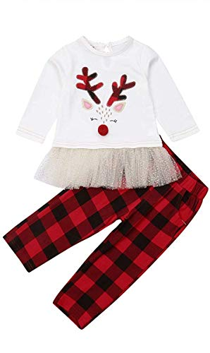 Christmas Toddler Infant Baby Girl boy Reindeer Long Sleeve lace Dress Tops+Plaid Pants 2pcs Set Princess Outfit Clothes (100(2-3T)) White/Red