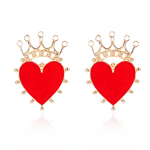 Pendientes Para Niña Pendientes Rojos Con Forma De Corazón De Aleación Pendientes De Corona En Forma De Corazón